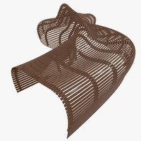 Parametric Abstract Wood Bench Like MP 2