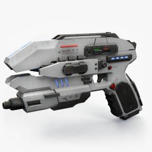 sci fi pistol mapped 3D