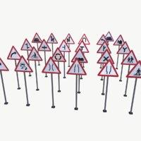 3D road sign pack 1 model