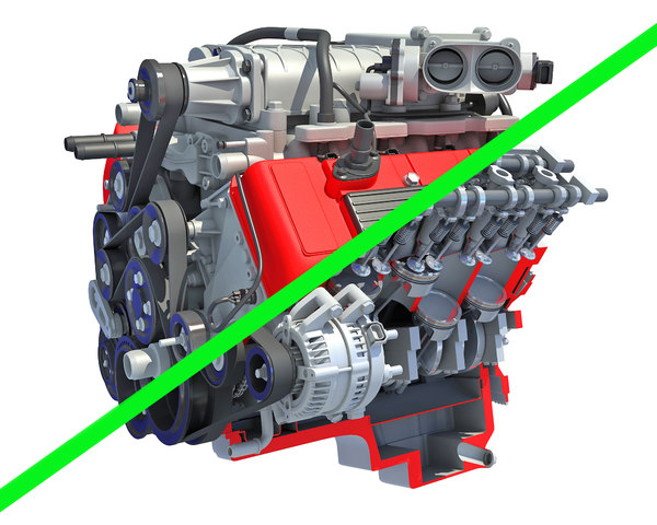3D model v8 engine cutaway