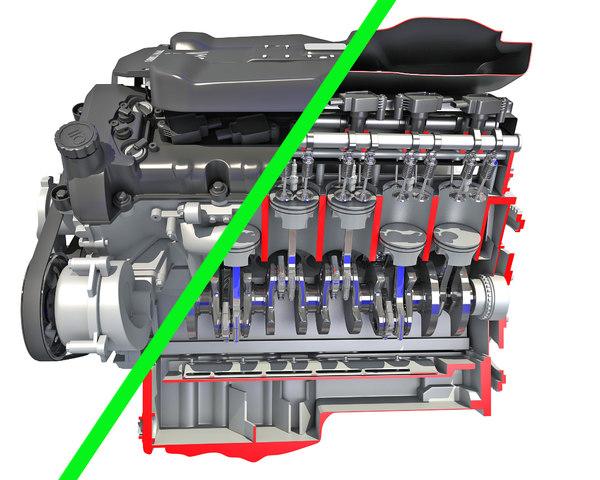 3D v12 engine cutaway