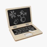 3D wooden laptop chalkboard