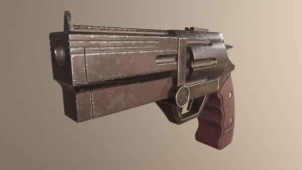 stylized revolver 3D model