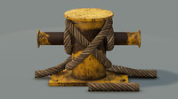 mooring sea bollard rope 3D model