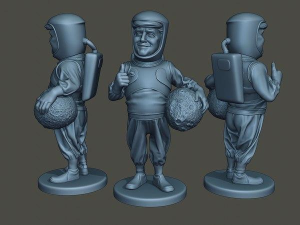 3D donald trump astronaut