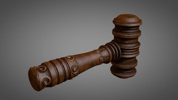 3D ornated wooden hammer model