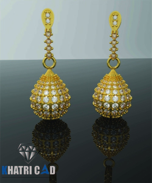 3D oval shaped earrings model