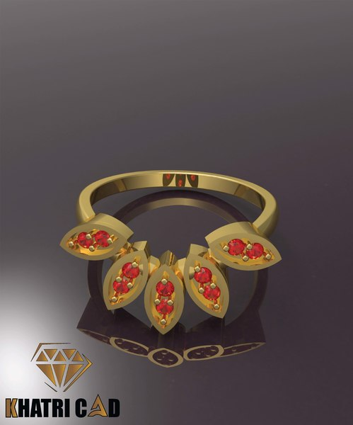 3D beautiful ring marquise