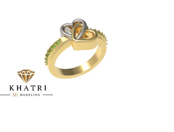 3D heart shape dual ring