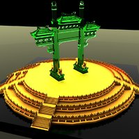 3D model chinese gate