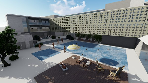 revit hotel 3D model