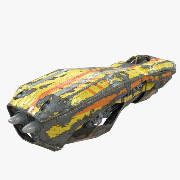 3D model sci-fi speeder hover