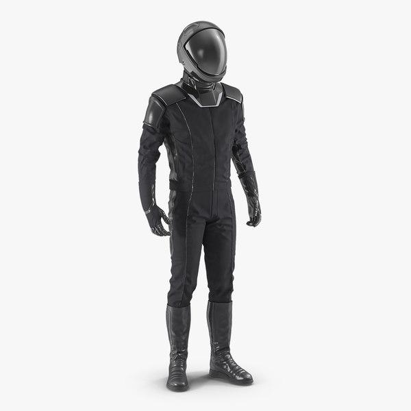 3D model sci fi astronaut black