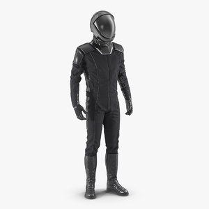 3D model sci fi astronaut black