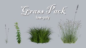 low-poly grass pack 3D model