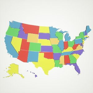 3D model maps united states america