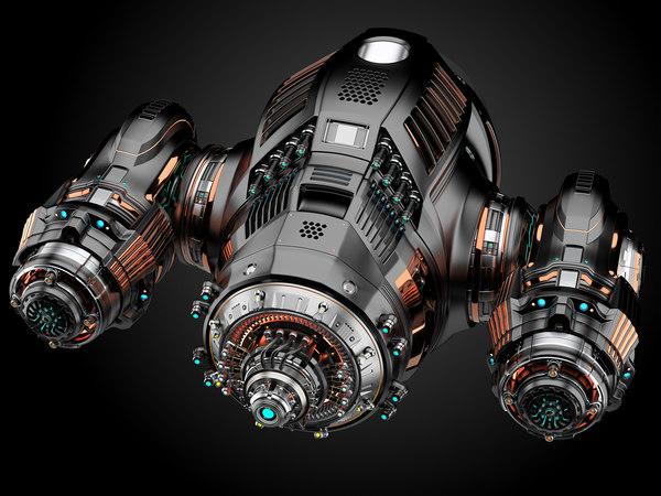 3D scifi drone rigged