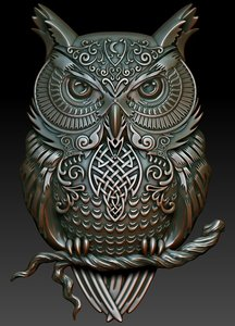 3D model celtic owl relief printing