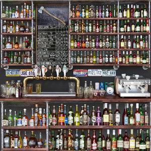 fillings bar alcohol wines 3D