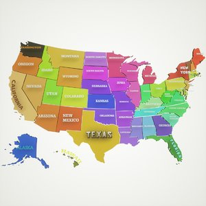 maps united states america 3D