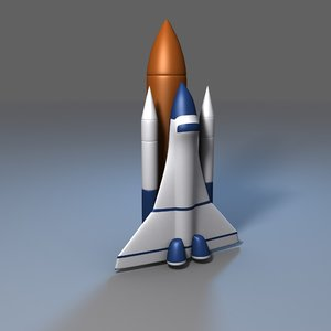 3D model simple cartoon space shuttle