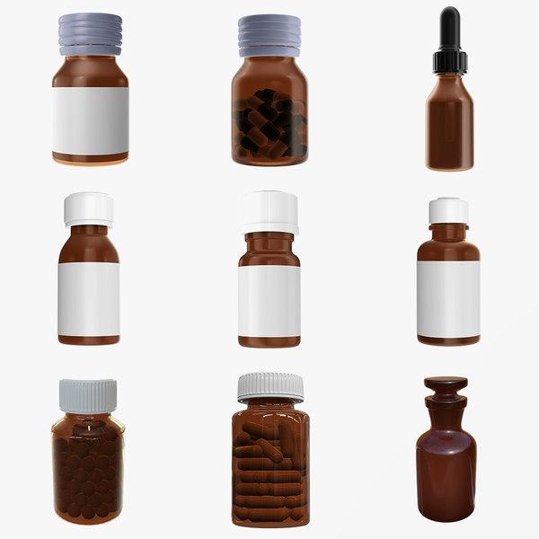 3D bottle medicine glass model