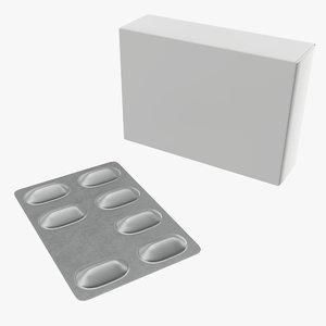 box pack pills 3D model