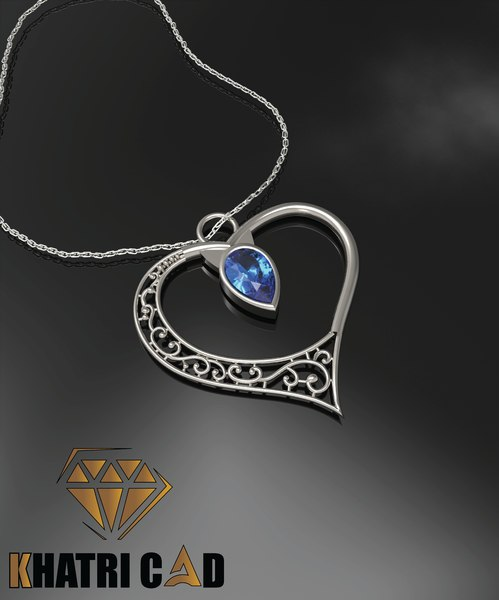 3D heart pendant fashion apparel model