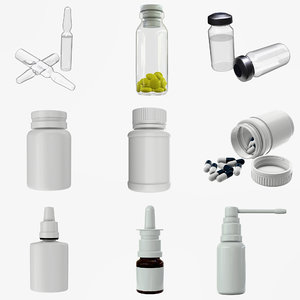 3D medicine glass bottle model