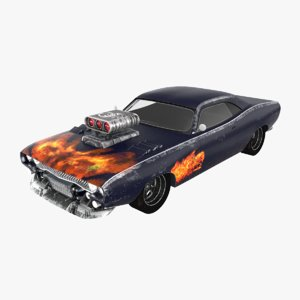 3D muscle car dragster
