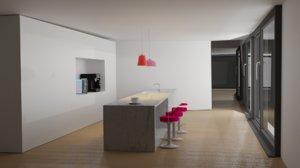 3D modern kitchen design interiors model