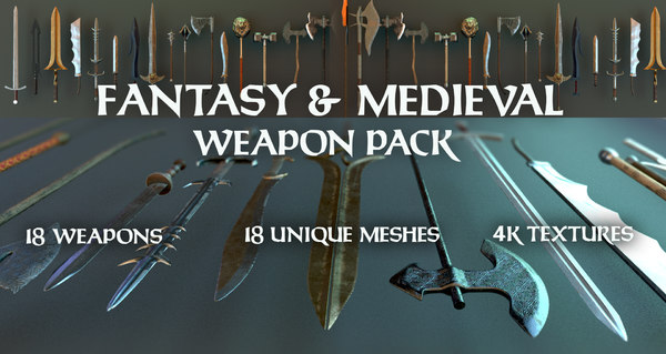 weapons swords packed 3D model
