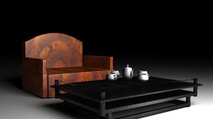 sofa tea table 3D model