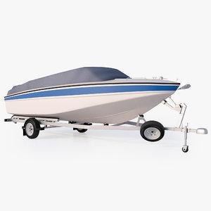 3D motor boat trailer
