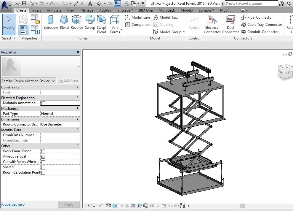 Lift For Projector Revit Family with Extend Parameter