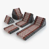 3D thai mattress set red