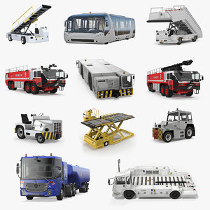 airport vehicles 4 aircraft 3D model