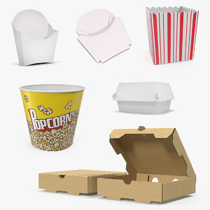 fast food containers 2 3D model