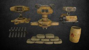 turret pack 1 modeled 3D model