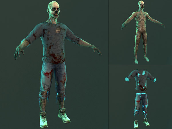 3D zombie character creature model