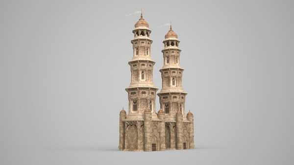 tall towers ancient 3D model