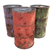 damaged barrels 3D model