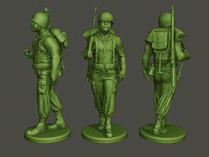 3D american soldier ww2 walking model