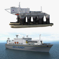 3D sea launch platform ship