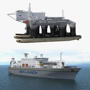 3D sea launch platform ship