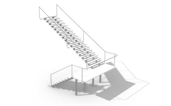 3D casa vidro staircase model