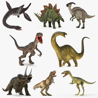 Rigged Dinosaurs 3D Models Collection 3