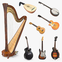 Stringed Instruments 3D Models Collection 3