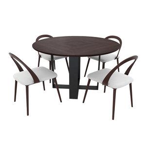 3D rialto dining chair beige model
