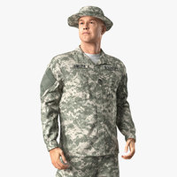 US Army Soldier Military ACU Rigged 3D Model